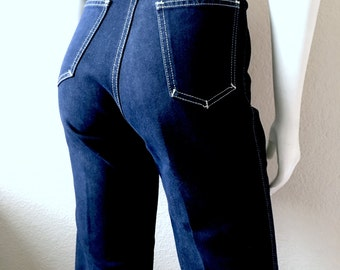Vintage Women's 70's Saint Germain Paris Jeans, High Waisted, Dark Wash (M)