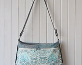 Tansy Zippered Tote in Octogarden in Aqua with grey faux leather