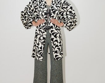 Paisley Duster Jacket with Poet Sleeves by SAKS FIFTH AVENUE, Brocade Sparkle Velvet Trench Coat, 80's 90's sz M / L