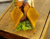 """Earrings 3"""" Gold Leather Leaf, Woodsy, Leaves, Autumn, Fall, Unique, Handmade, Lightweight, Soft, Dangle, Woodland"""