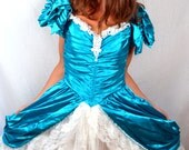 Amazing Vintage 80s Princess and Lace Zum Zum Blue Bridesmaid Wedding Southern Belle Dress