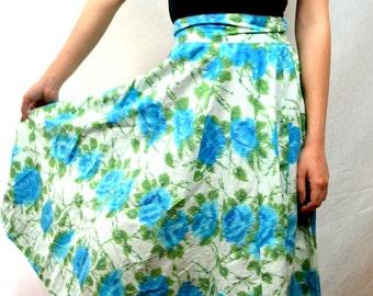 Cute Vintage Floral Cotton 1950s 50s Skirt