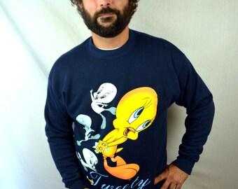 Vintage 90s Tweety Hip Hop Looney Tunes Funny Sweatshirt