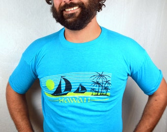 Vintage Super Soft Distressed Hawaii 1980s 80s Blue Tee Shirt Tshirt