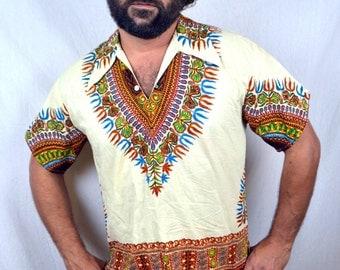 Vintage 80s 90s Ethnic Boho Batik Dashiki Africa Caftan Tunic Top Shirt