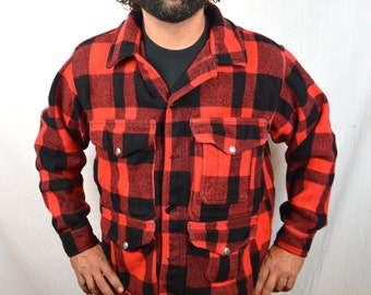 Vintage Filson Mackinaw Red Plaid Mens Lumberjack Camping Virgin Wool Coat Jacket