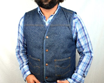 Vintage Roebucks Sears Western Wear Denim Vest with Fleece