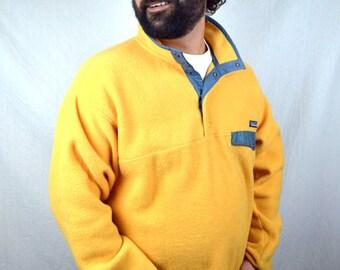 Vintage 90s Patagonia Rare Yellow Fleece Pullover Jacket Coat - Large