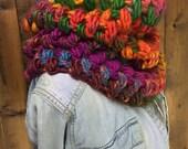 Eclectic Rainbow Crochet Cowl High Quality Yarn - COOL BLAZE