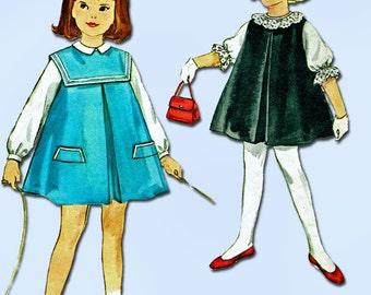 1960s Vintage Simplicity Sewing Pattern 4568 FF Toddler Girls Jumper Dress Sz 2