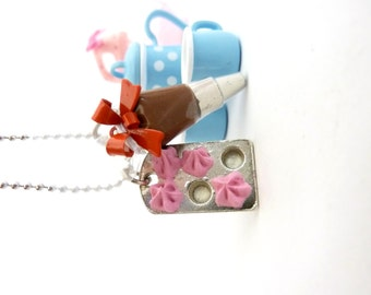 "The Bakers Necklace "" Who Ate My Cupcakes"" Miniature silver Cupcake Muffin Pan Charm with fake cupcake frosting and Pastry Bag Charm"