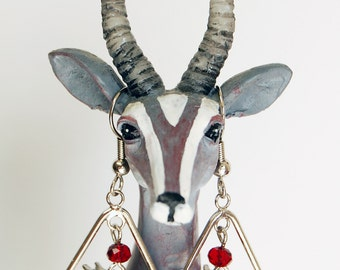 Pigs With Wings Teardrop Earrings, Flying Pig Elongated Hoop Earrings, Silver and Red Pigasus Dangle Earrings