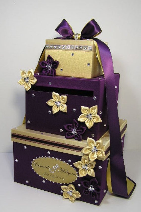 Wedding Card Box Purple and Gold Gift Card Box Money Box Holder ...