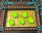 5 Filigree Bezel Pendant Settings, Green, Copper Plated 24x32mm, Holds a 13x18mm Cabochon, Lead and Nickel Free