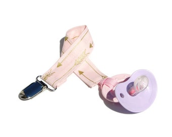 Soothie Pacifier Clip - Pink and Gold Arrows Binky Clip - Mam Pacifier Clip - Avent Clip - Pacifier Clip Girl
