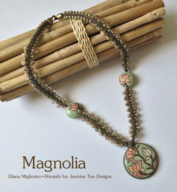 Magnolia, A Partially Beaded Kumihimo Necklace Featuring Artisan Ceramic Beads by Golem Design Studio