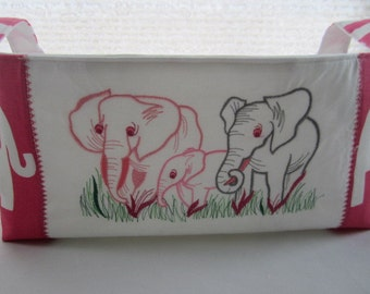 Fabric Organizer Basket Container  Machine Embroidery Elephants Pink Bin Storage Ready to Ship