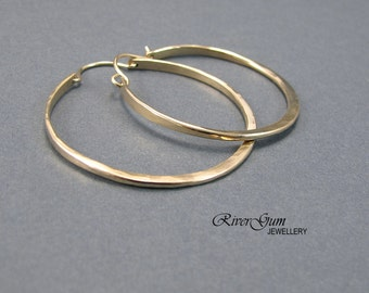Large Gold Hoop Earrings, Hoop Earrings, 12 Gauge Gold Filled Wire, Gold Hoop Earrings, Gold Earrings, Large Hoop Earrings, Hammered Hoops