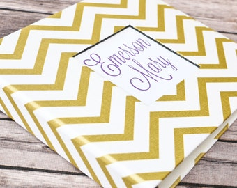 Baby  Book - Gold Chevron (80 designed journaling pages & personalization included with every album)
