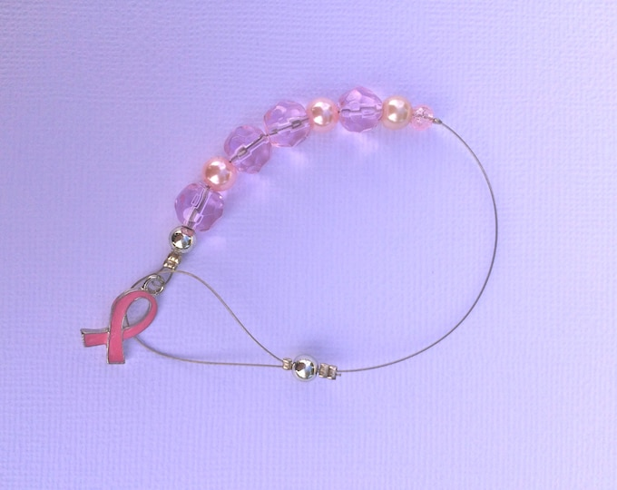 Rearview Mirror Pink Breast Cancer Awareness Car Charm