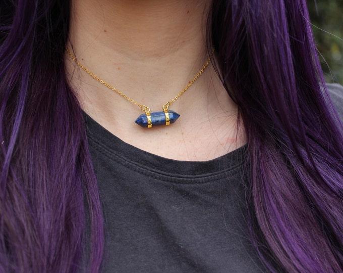 Lapis Lazuli Crystal bar Necklace.
