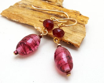 Venetian Glass and Garnet Red Chinese Crystal -Dangle Earrings- Deep Rose Pink and Burgundy Dangle Earrings-Vintage Venetian Glass