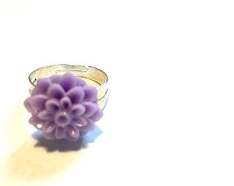 Ring - Adjustable - Purple Flower - Spring Fun