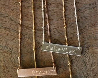 TWO SIDED Personalized Necklace, 14K Gold Filled Bar, Cursive Gold Custom Gift, Yellow Gold or Rose Gold Options