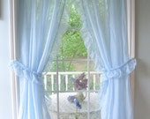 Curtains, Set of Sheers, Frilled, Pale Blue, Frilled Curtains, Cottage Charm, French Country, Shabby Cottage, by mailordervintage on etsy