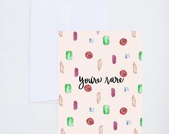 Salutations de l'amitié - vous êtes Rare - main & Pierre motif sur fond rose - peinturé en lettres cartes - A-2