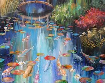ORIGINAL Large Modern Abstract KOI FISH Pond Painting Blue |Modern Koi Fish Painting