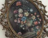 Set of Two Vintage Framed Domed Floral Prints in Metal Frames -- Made in Italy