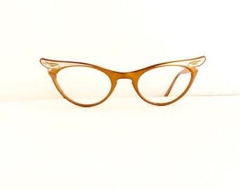 Marine Eyeglasses Frames //Women's Vintage 1950's //Bronze with Silver Cat Eye Key Hole Frames //Floral Pattern//USA//#M248  DIVINE