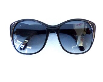 80s Giorgio Sunglasses Vintage 1980's Black with Grey & Gold Frames Made in France #M41