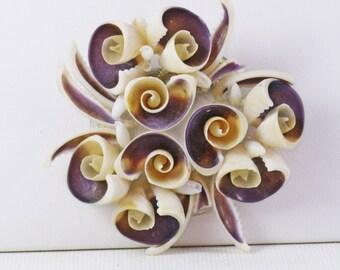 Vintage Natural Seashell Floral Brooch Pin (B-1-5)