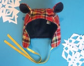 RED Plaid Fabric Winter Bear Hat- Toddler, Kids, and Adult Sizes!