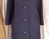MAGNIFICENT Vintage Coat - 100% Wool - Dark Slate - Size L/12-14 - FREE SHIPPING