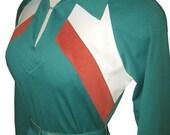Vintage 70s Chevron Stripe Dress Teal Poly 34 bust M 1970s