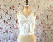 Edwardian Camisole Floral Lace Crochet Blouse White Cotton Top Vintage Lingerie Antique 1910s XS