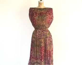 1970s Vintage Bohemian Dress Rust Red Sheer Cotton Batik Print Midi Dress S/M