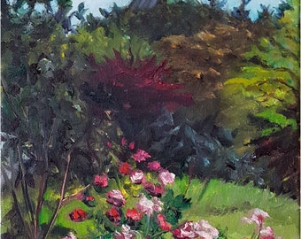 Floral Plein Air Painting  - 9x12in Landscape Oil Painting