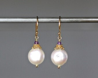 Amethyst Earrings - Coin Pearl Earrings - Purple Gemstones - Gold Wire Wrap Earrings - February Birthstone - Pearl and Gold Earrings - Gift
