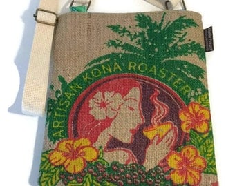 Island Girl. Burlap Crossbody Bag and Mini-Messenger Purse. Repurposed Honolulu Coffee Bag Handmade in Hawaii.
