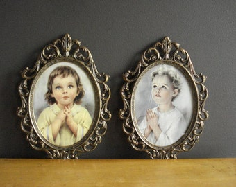 Two Oval Frames - Vintage Metal Picture-Surrounds with Glass - Children Praying