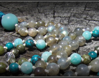 Amazonite Mala, Turquoise Mala, Labradorite Mala, Green Calcite, Pyrite, Quartz, Blue Mala, Grey Mala