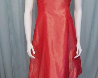 Richard Tyler Couture Vintage Avant Garde Coral 100% silk Designer dress XS
