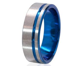 New Titanium Blue Anodized Ring, Blue Titanium Rings, Blue Rings,  Unique Jewelry: 7F1GOC-ST-TOP-BLUE