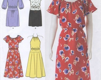 Pullover Dress Sewing Pattern Size 8 10 12 14 16 Simplicity 2590, Flared or Straight Skirt, Long or Short Sleeves, Halter Bodice, Summer