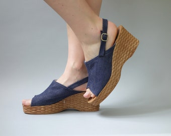 Last blue denim wedges | 1970's by cubevintage | size 40