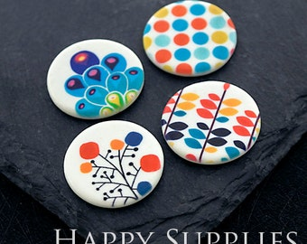 2pcs 25mm Round Handmade Photo Ceramic / Porcelain Pendants / Charms (CPA17-20) - High Quality No Scratch Guarantee